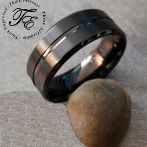 Men's Black Promise or Wedding Ring Center Groove